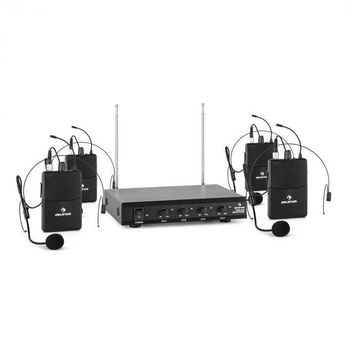 Auna VHF-4-HS Set micro sans fil système 4 canaux VHF 4x micro-casque portée 50