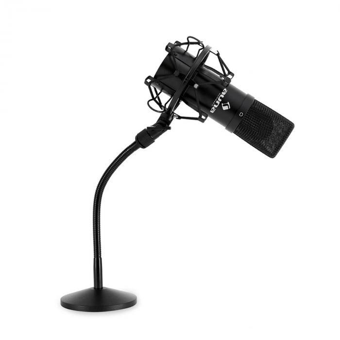 Auna Set micro studio avec micro USB noir et pied de table