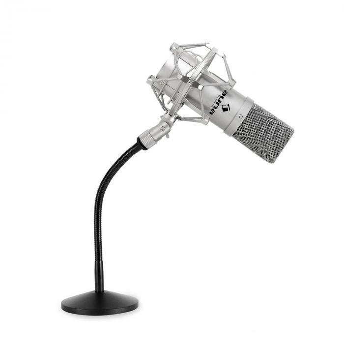 Auna Electronic-star Set podcast micro studio avec micro USB argent et pied de table