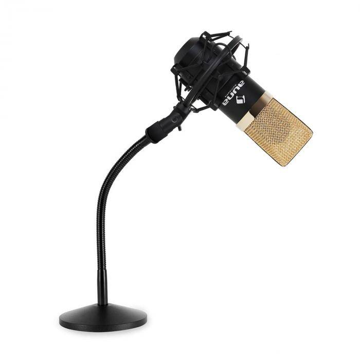 Auna Set micro studio avec micro USB noir/or et pied de table