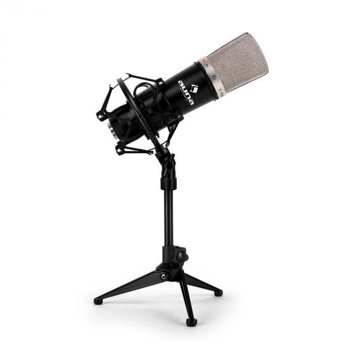 Auna Set micro studio avec micro XLR noir et pied de table