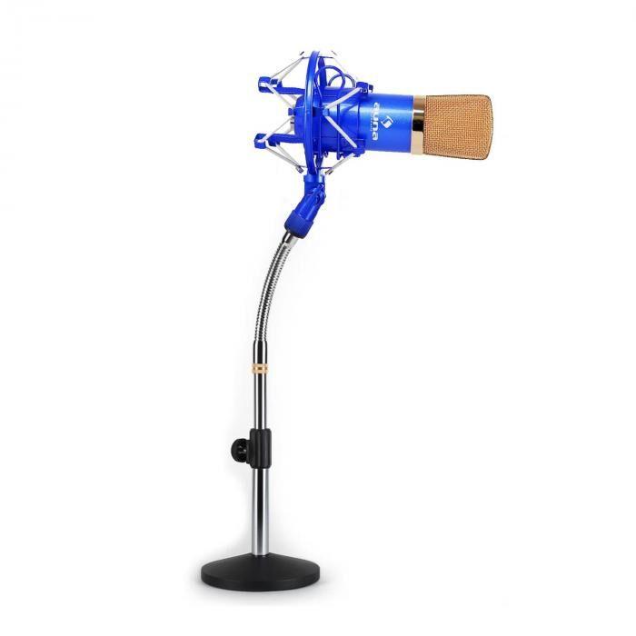 Auna Set micro studio avec micro XLR bleu/or et pied de table