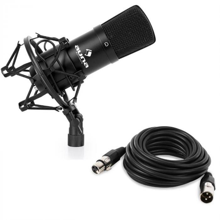 Auna CM001B Micro condensateur voix studio XLR + 6m de câble - noir
