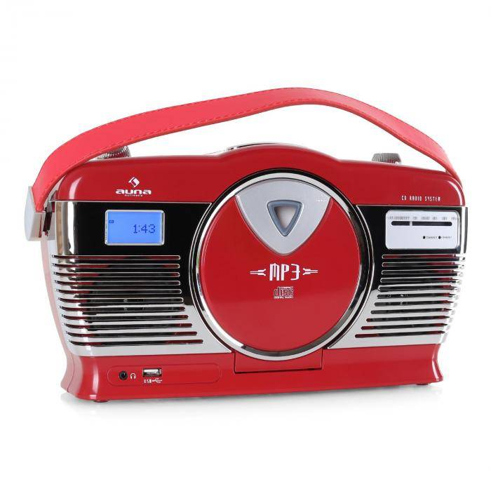 Auna RCD-70 Radio vintage UKW USB CD piles -rouge