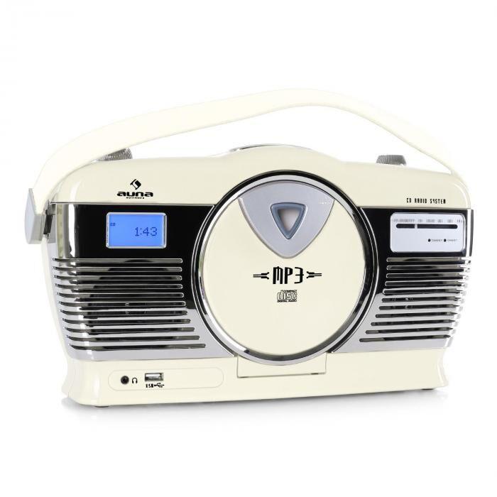 Auna RCD-70 Radio rétro FM USB CD batterie -crème