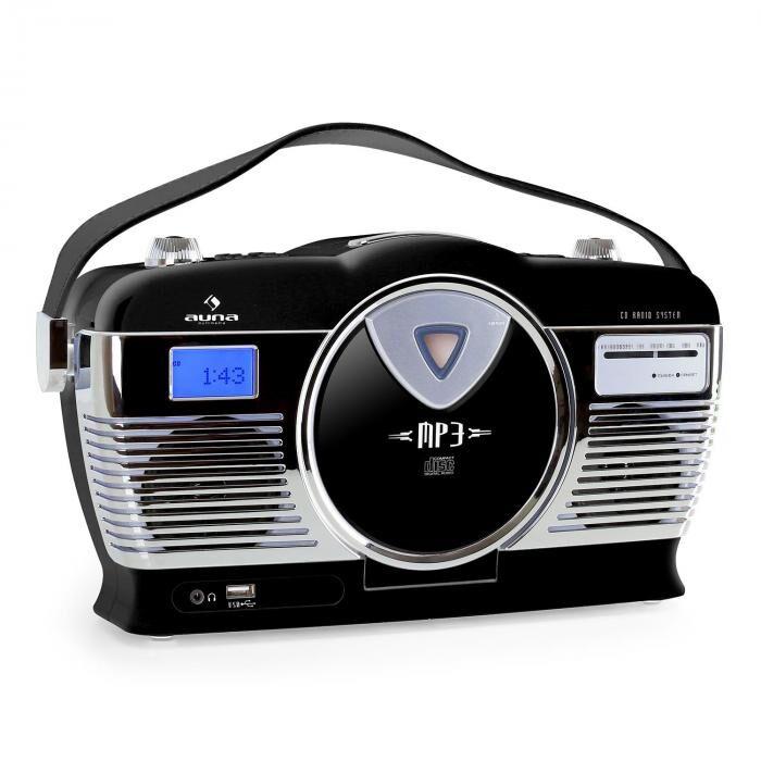 Auna RCD-70 Radio portable lecteur CD USB MP3 design retro -noir