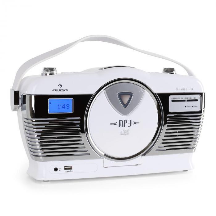 Auna RCD-70 Radio vintage UKW USB CD -blanc
