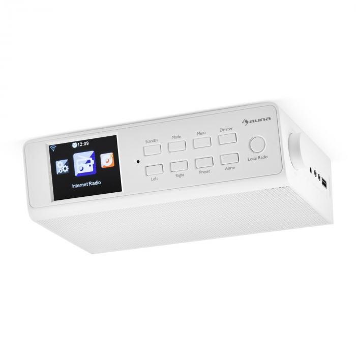 """Auna KR-190 Radio Internet encastrable WiFi Contrôle par application 3,2"""" Ecran TFT- blanc"""