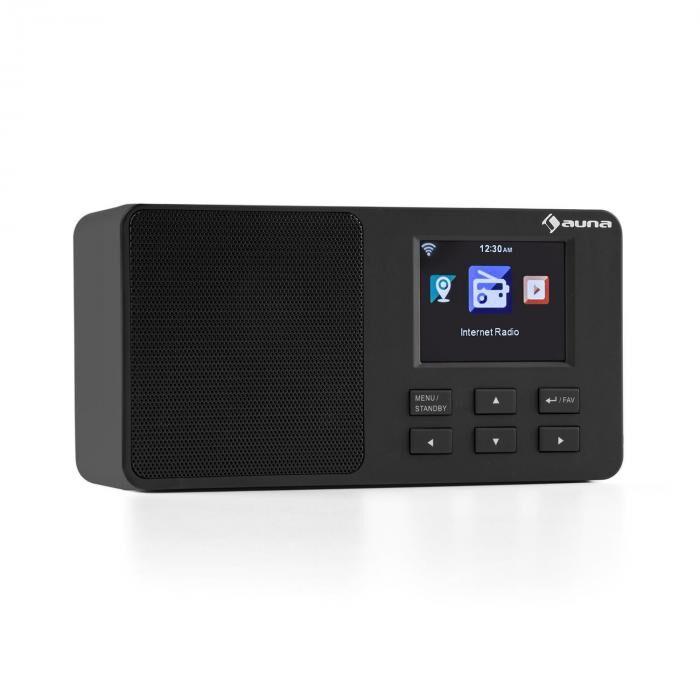 """Auna IR-110 Radio Internet écran TFT 3,2"""" Menu couleur batterie WiFi USB - noir"""