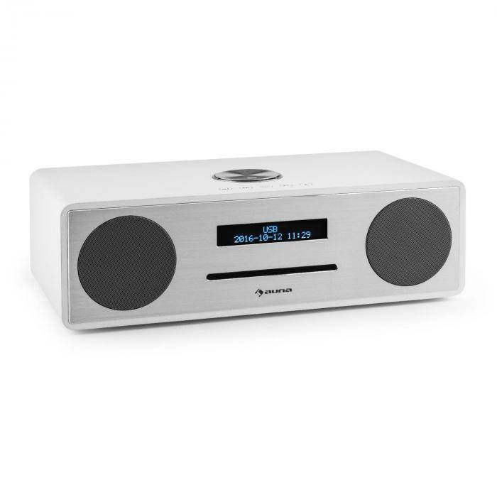 Auna Stanford Radio lecteur CD DAB DAB+ Bluetooth USB MP3 AUX FM - blanc