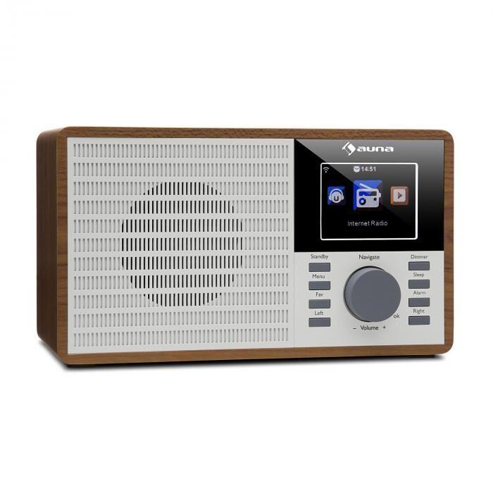"""Auna IR-160 Radio internet WiFi USB AUX UPnP 2.8"""" écran TFT télécommande -marron"""
