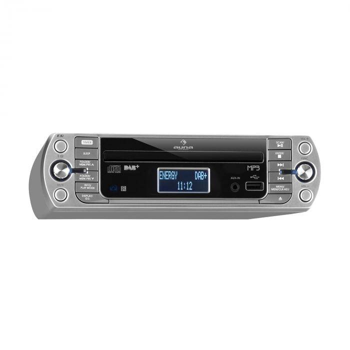 Auna KR-400-CD Radio de cuisine tuner DAB+/PLL FM Lecteur CD MP3 - Argent