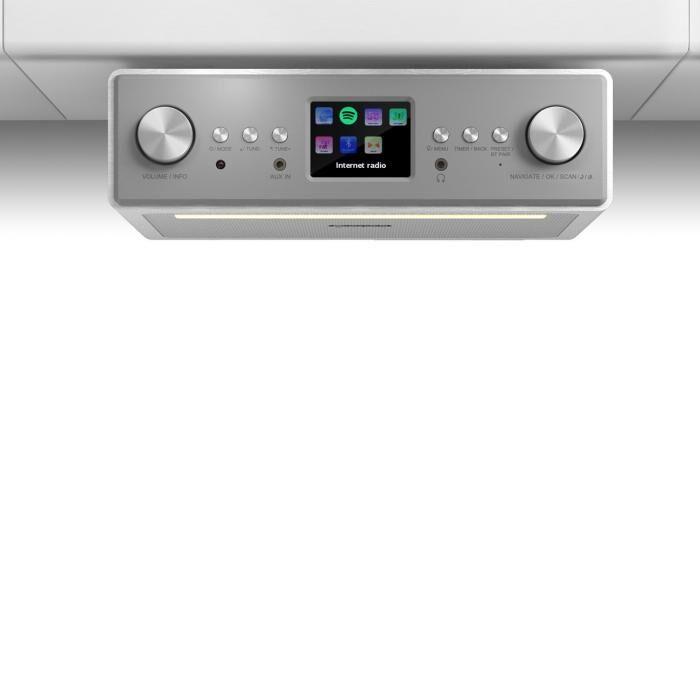 "Auna Connect Soundchef Radio encastrable Internet DAB+ FM enceintes 3"" -blanc"