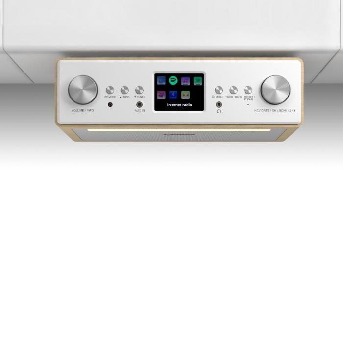 """Auna Connect Soundchef Radio encastrable Internet DAB+ FM enceintes 3"""" - hêtre"""