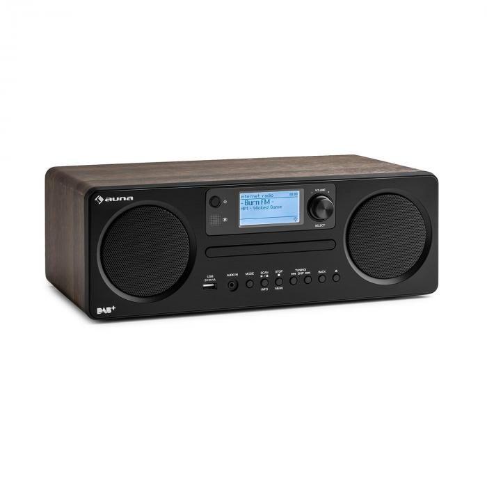 Auna Worldwide CD Radio Internet Spotify Connect contrôle par application Bluetooth - noyer
