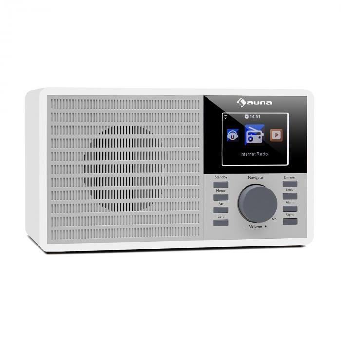"""Auna IR-160 Radio Internet WiFi USB AUX UPnP écran TFT 2.8"""" télécommande blanc"""