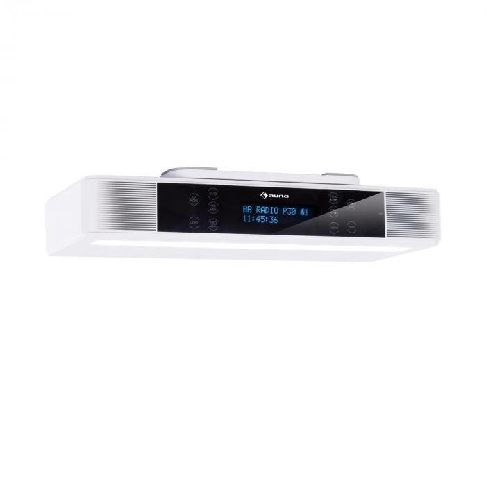 Auna KR-140 Radio de cuisine DAB+ fonction mains libres Bluetooth LED blanc