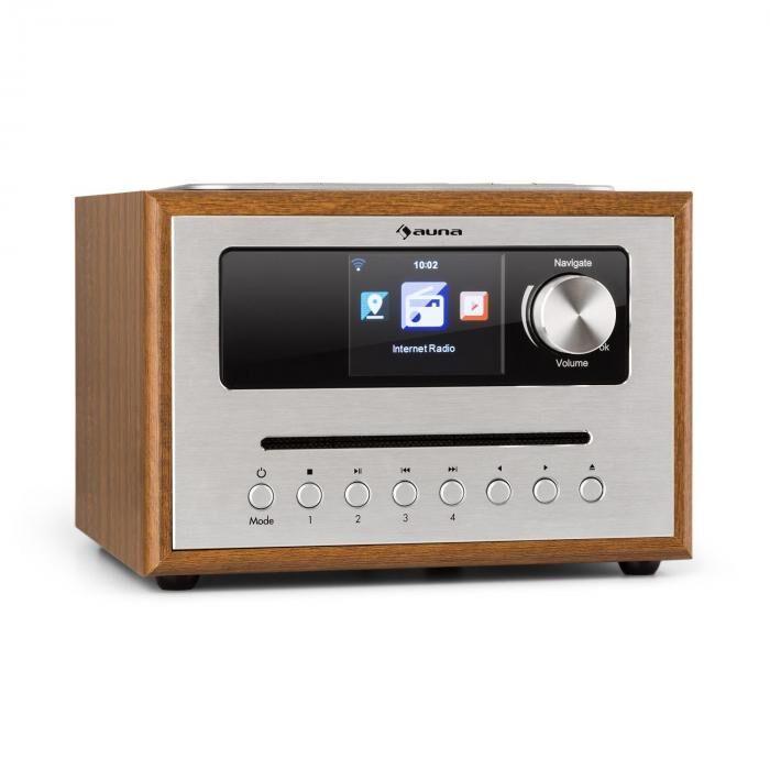 Auna Silver Star CD Cube Radio Bluetooth HCC écran bois marron