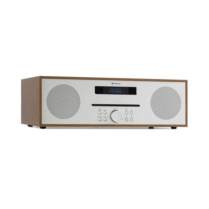 Auna Silver Star CD-FM Lecteur CD FM Slot-In Bluetooth Alu 2x 20W max. - marron