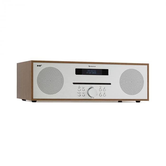 Auna Silver Star CD DAB Lecteur CD DAB+ Slot-in Bluetooth 2x 20W Alu - marron
