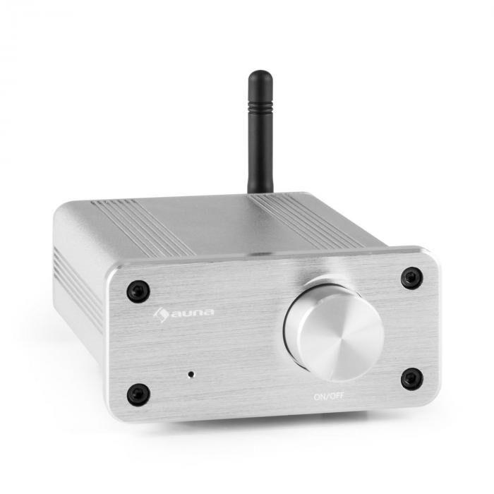 Auna BT-Bro silver Mini-amplificateur stéréo classe D Bluetooth aluminium
