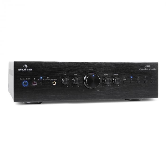 Auna AV2-CD708 Ampli HiFi stereo 5x RCA EQ 3 bandes 125W RMS inox