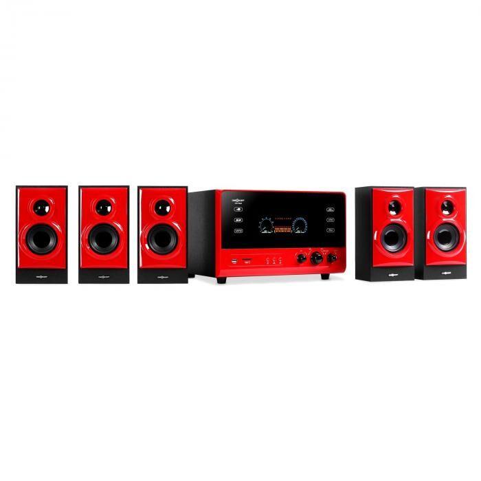 OneConcept V51 système surround actif 5.1 FM AUX USB SD -rouge