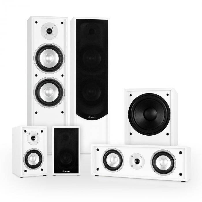 Auna Linie-300-WH 5.1 Système son enceintes passives Home Cinema 515W RMS -blanc