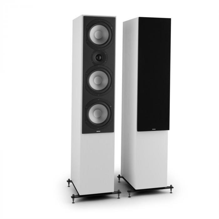 Numan Reference 801 – Paire haut-parleurs colonne trois voies blancs protection noire