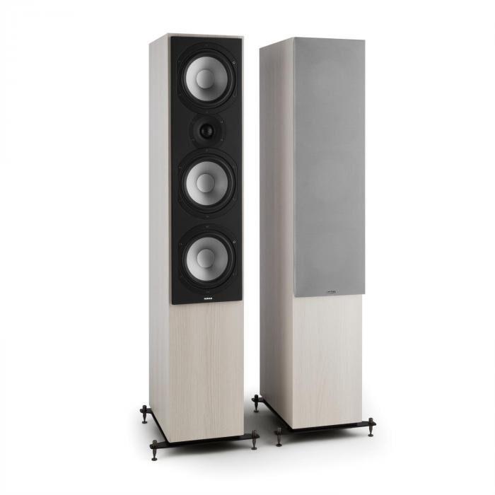 Numan Reference 801 – Paire haut-parleurs colonne trois voies chêne gris protection argent