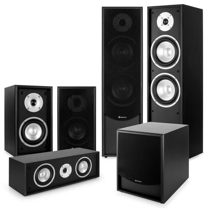 "Auna Black-Line 5.1 Système audio HiFi home cinema 5 enceintes & subwoofer 10"""