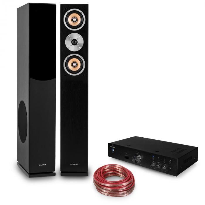"""Auna Set Hifi """"Brilliant Black"""" Enceintes colonnes+ amplificateur Bluetooth"""