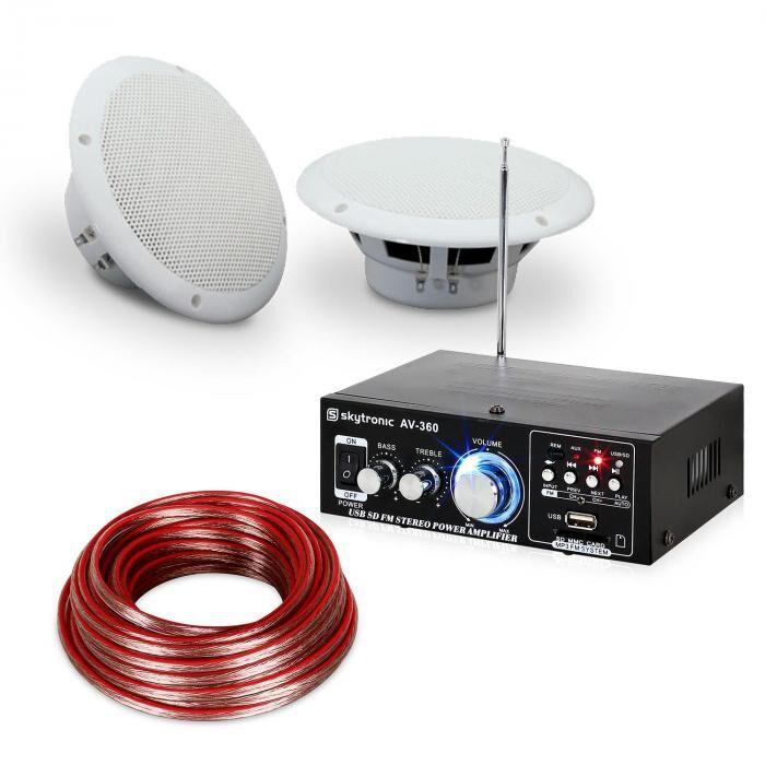 """Electronic-Star Set Amplificateur hifi & Enceintes pour terrasse ou balcon 5"""" - 4 éléments étanc"""