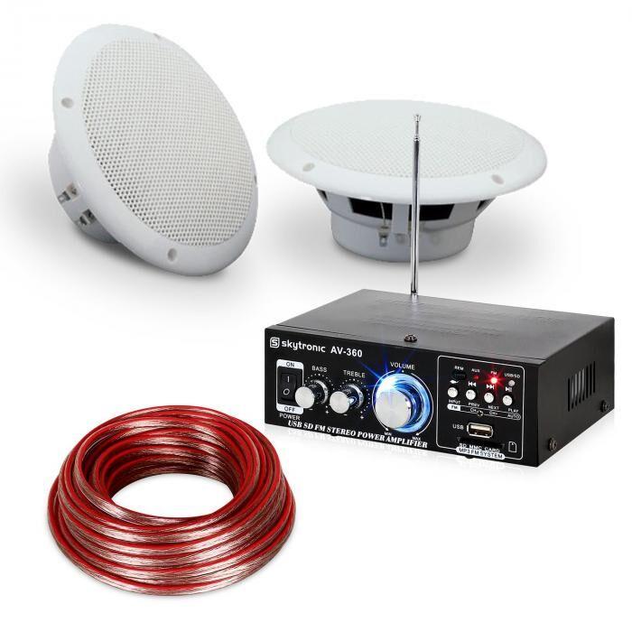 """Electronic-Star Set Amplificateur hifi & Enceintes pour terrasse ou balcons 6, 5"""" - 4 éléments é"""