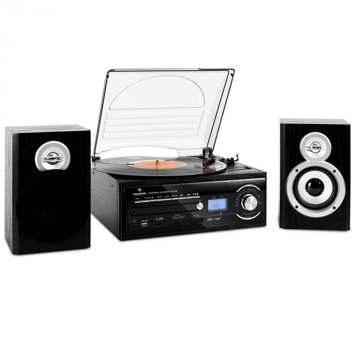 Auna TT-190 Chaîne stereo platine enregistrement MP3 CD USB K7