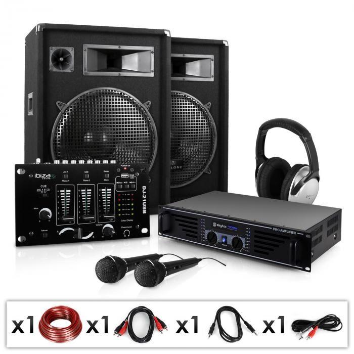 Electronic-Star Electronic Star Set sono DJ PA 2 enceintes + ampli + mixer USB + casque