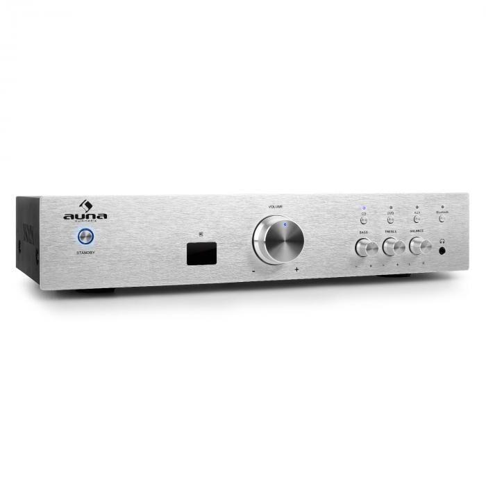 Auna AV2-CD508BT Ampli HiFi AUX Bluetooth -argent