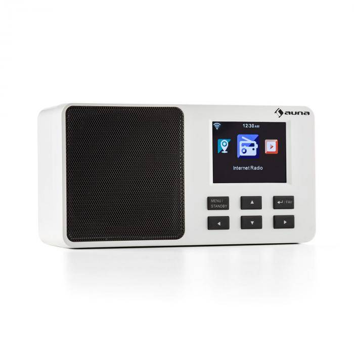 "Auna IR-110 Radio Internet écran 3,2"" TFT menu couleur batterie WiFi USB – blanc"