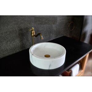 LivingRoc Vasque salle de bain a poser en pierre marbre blanc RONDO WHITE