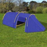Interouge Tente de camping pour 4 personnes Bleu marine/jaune