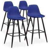 MENZZO Lot de 4 chaises de bar Jody Tissu Bleu
