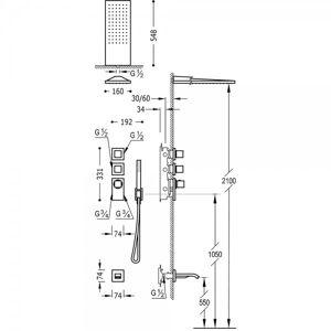 TRES Kit thermostatique baignoire encastré BLOCK SYSTEM avec fermeture et réglage du débit (3 voies) - TRES 20625301AC Acier - Publicité