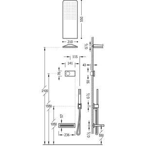 TRES Kit de baignoire thermostatique électronique et encastré SHOWER TECHNOLOGY Acier - TRES 09288319AC - Publicité