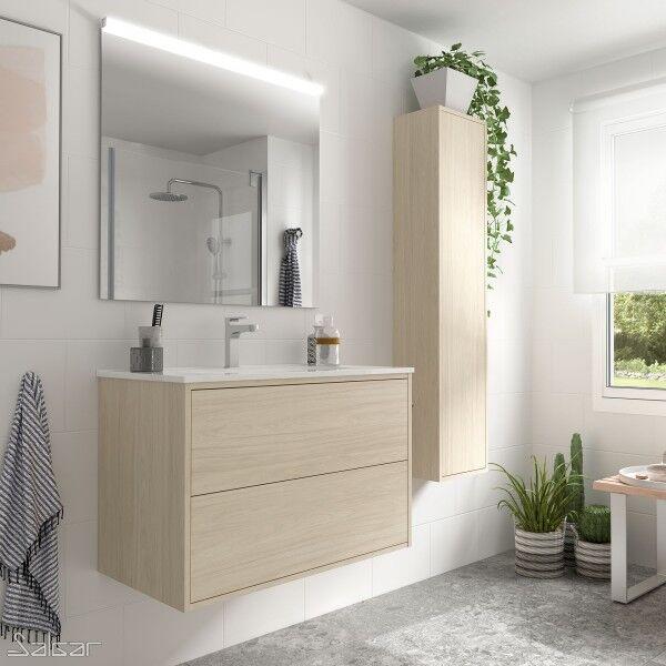 SALGAR Ensemble meuble salle de bain Chêne Nordick vasque, miroir, applique 800 OPTIMUS - 87868 SALGAR