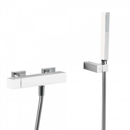 TRES Mitigeur douche Douchette à main anticalcaire avec support orientable et flexible. - TRES 407167