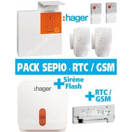 HAGER Pack Alarme Radio SEPIO avec Transmetteur RTC / GSM + Sirene Exterieur - Logisty Hager