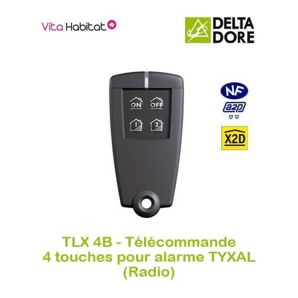 DELTA DORE TLX 4B - Télécommande 4 touches pour alarme TYXAL (pile fournie) - 6413239