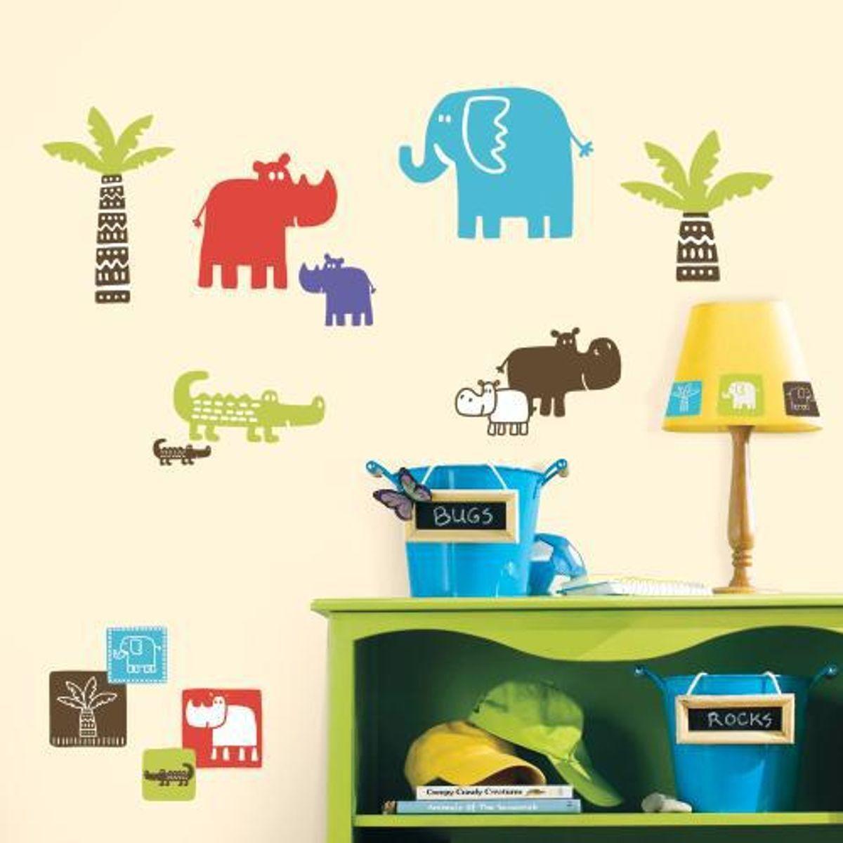 TheDecoFactory PETITS ANIMAUX DANS LE SAFARI - Stickers repositionnables petits animaux dans le safari Multicolore