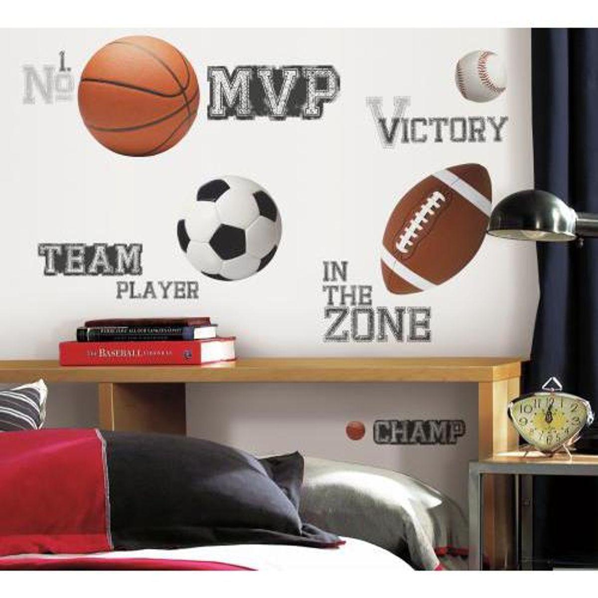 TheDecoFactory ALL STAR SPORTS DE BALLONS - Stickers repositionnables sur le thème des sports à ballons Multicolore