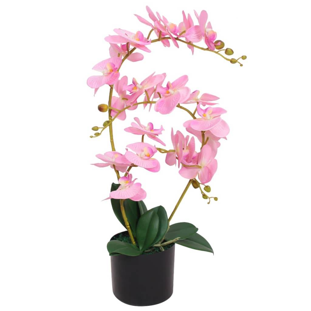 vidaXL Plante artificielle avec pot Orchidée 65 cm Rose